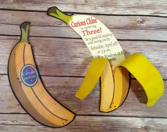 Curious George Inspired/Banana Invitations