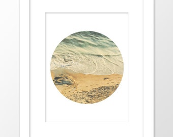 beach photography download, beach print, ocean waves, nautical decor, seascape, neutral, beach home decor, circle print, california art