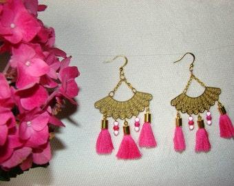 Earrings range Golden and pink PomPoms