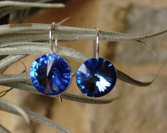 Earrings swarovski crystal blue Sapphire and Silver 925