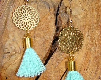 Earrings Golden and green pompon of water