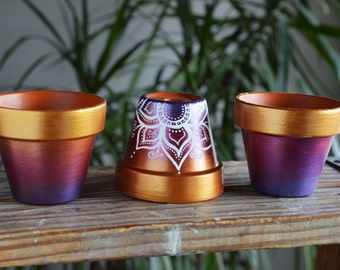 Succulent Planter, Flower Pot, Purple and Gold Ombre Bohemian Pots, cactus planters, hippie pots, lotus design, Jewel toned, Henna