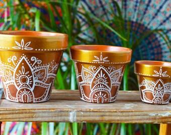 Succulent Planter, Flower Pot, Gold Ombre Bohemian Pots, cactus planters, hippie pots, lotus design, Jewel toned, Henna