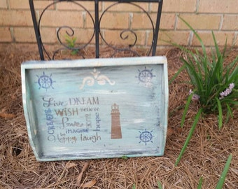 Hand painted beach style design tray. Perfect size to hang.