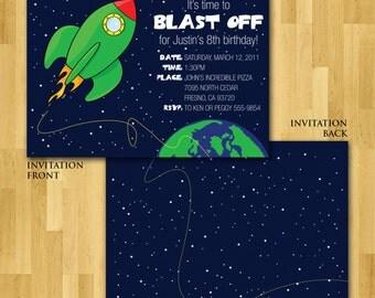 Blast Off birthday party invitation, printable digital file