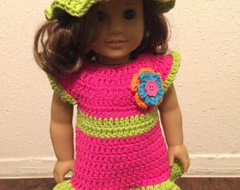 American Doll Crocheted dress and hat outfit