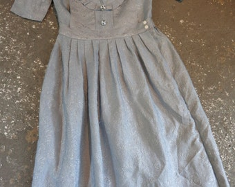 Vintage Dress - Little Girl Dove Grey Textured 'Damask'