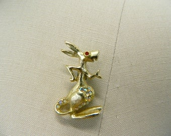 Vintage Kangaroo Pin With Red Rhinestone Eyes and AB Rhinestones On The Belly