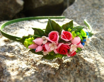 Hair band with flowers Pink hairband flower Flower hair band Flower crown Crown of hair Flower wreath hair band Hair crown