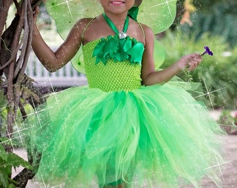 Tinkerbell tutu dress - tinkerbell dress - fairy tutu dress - green fairy dress -  Tinkerbell birthday party - tinkerbell costume - pixie