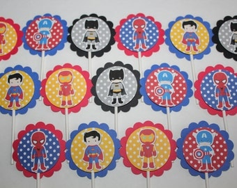 Superhero Inspired Cupcake Toppers