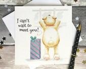 New baby card, cute card, teddy bear card, blank card, greeting card