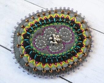 ETNO Mexico 2in1 felt brooch / pendant, felt brooch, felt necklace, gift for her, OOAK