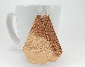 Leather Earrings -Geometric Copper