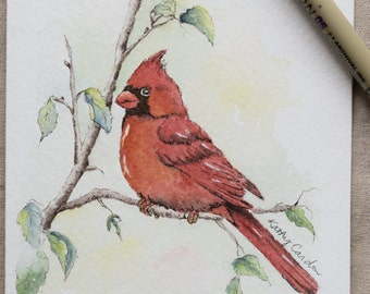 Red Cardinal in Woodland watercolor painting card-prints only