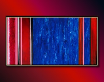 Abstract Art, Abstract painting original: Large abstract painting (Original canvas art) in Blue and Red, Wall Art Textured Large Canvas Art