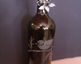 Hand crafted Sand etched Wine Bottle