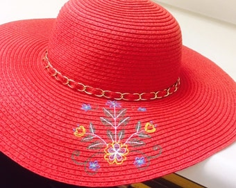 Embroidered Sun Hat for Women