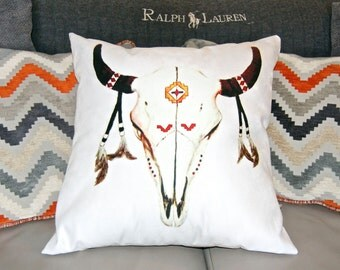 Aztec Buffulo Skull print on Cushion, with Suede back.