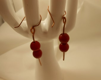 Copper with Red Wooden Beaded Earrings - Very Attractive