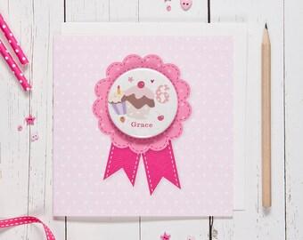 Personalised Girl's Age Badge Card - cupcake