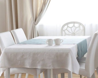 White linen Tablecloth with table runner set