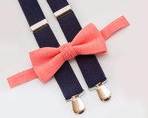 Toddler Coral Bow Tie And Navy Blue Suspenders Ring Bearer Outfit Boys Bow Ties Wedding Coral Bowtie Birthday Outfit