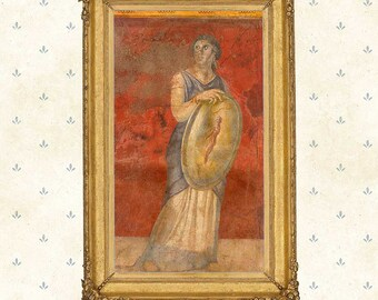 Print of fresco from Roman Villa ca. 40 BC.Woman holding a shield.Original Wall Art Giclee Antique Canvas Classic Roman art Decoration