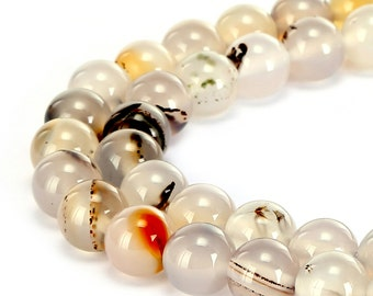 Nice Smooth White Flower Agate Gemstone Round Loose Beads 4mm/6mm/8mm/10mm  Approximate 15.5 Inches per Strand.R-S-AGA-0066