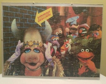 Vintage 1980 The Muppets Auditions Completed Jigsaw Puzzle Glass Framed Kermit the Frog Miss Piggy