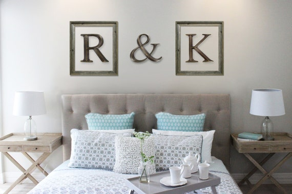 Initials in picture frames master bedroom by cobblestonegarden for Bedroom 5 letter words