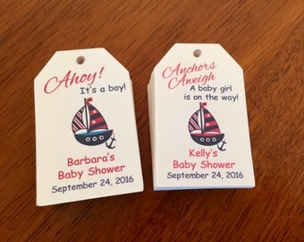 Nautical Baby Shower Favor Tags, Anchor Baby Shower favor tags,Sailboat Baby Shower, Party Favor tags