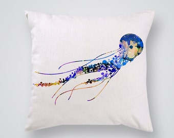 Jellyfish Decorative Pillow - Ocean Throw Pillow - Pillow Cover - Home Decor