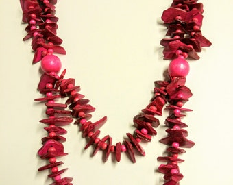 Wooden 'shark teeth' necklace in pink, green,brown or aqua turquoise
