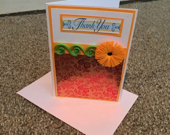 Thank you card with orange quilled flower
