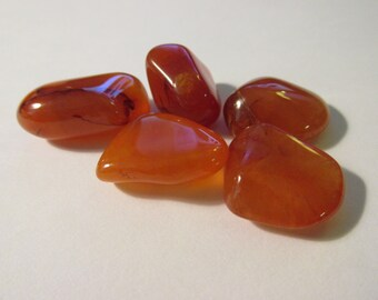 "Natural Carnelian Tumbled Gemstones, 3/4"", Set of 5"