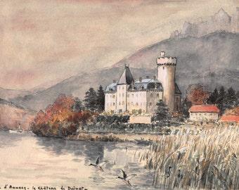 Lac d'Annecy – Le Château de Duingt (Vintage Watercolor)