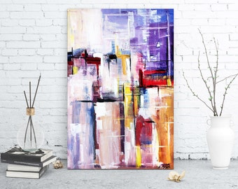 One moment doused with light, abstract contemporary fine art painting. Original artwork by Zlatko Music. Contemporary modern art painting.