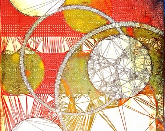 Print with circles and lines in orange, yellow and white. Distressed, fine art paper,digital art