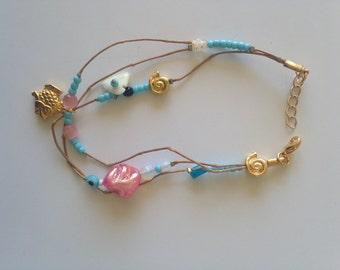 Angle Bracelet Beaded Laces Gold Metal Turquoise Fildisi Semi Precious Stones High Fashion Summer Beachwear Lightweight Jewellery