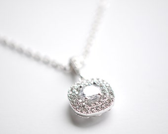 Crystal Pendant Wedding Necklace Bridal Jewelry Wedding Pendant Bridal Necklace cz Necklace Cushion Cut Pendant
