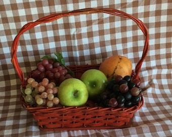 Vintage 1940 oak wood utility red woven splint basket home decor