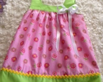 Toddler girl clothes Toddler Summer dress Pink floral print with contrasting green yoke and hem with yellow rickrack 35.00