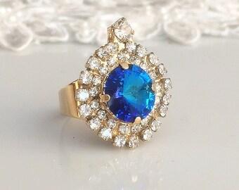 blue sapphire ring, Sapphire Swarovski Ring, blue sapphire Crystal Ring, Statement blue sapphire Swarovski gold ring, Adjustable band Ring