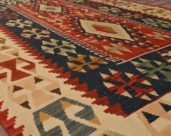 Kilim rug hand knotted natural wool kilim rug turkish anatolian tribal handmade rug antique wool rug home decor kitchen rug 5.7 x 3.9 feet