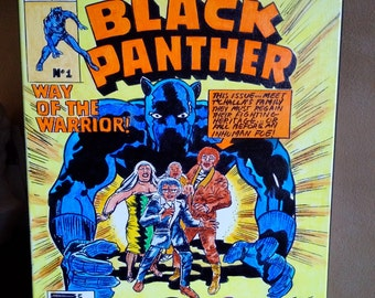 Black panther comic book cover on canvas