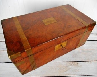 Antique Writing Box Lap Desk - Large Victorian Brass Bound Writing Desk in Walnut, with Inkwells and Secret Drawers - England 19th Century