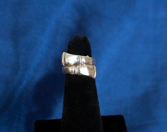 Vintage Sterling Silver Bypass Ring, Silver Wrap Around Ring