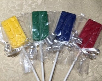 LEGO BLOCKS Chocolate Lollipops (12 qty)- LEGO Themed Birthday/Childrens's Birthday Party/Lego Party FavorsChocolate Lego Lollipop