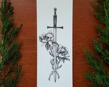 """Sword & Magnolias / Original Art / Small Art / One-of-a-kind 2.5 x 7"""" Pen and Ink Drawing"""